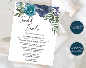 Wedding Invitation Template / Floral Wedding Invitation / Printable Invitation /Editable Invitation / Wedding Stationery / Sarah Collection