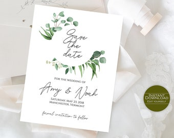 Printable Save the Date Template /  Save the Date card /DIY Save the Date / Printable Invitation / Invitation Template / Amy Collection