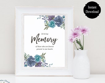 In Loving Memory Wedding Sign / Memorial Sign / Memorial Table Sign / Loved Ones Memory Sign / Sarah Collection