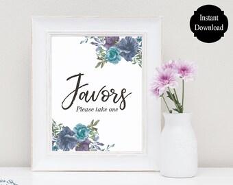 Wedding Favors Sign / Floral Favor Table Sign / Favor Sign Printable / Wedding Printable / Sarah Collection