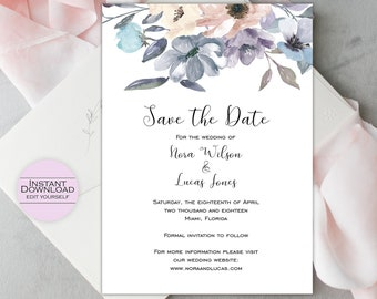 Floral Save the Date Template / Save the Date Printable / DIY Save the Date / Wedding Announcement / Editable Template / Nora Collection