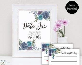 Date Jar Sign / Date Night Jar / Date Night Sign / Date Night Ideas / Floral Wedding Sign / Printable Wedding Sign / Sarah Collection