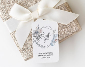 Floral Shower Thank You Favor Tags, Printable Wedding Favor Tags, Editable Favor Tags Template, MSD336