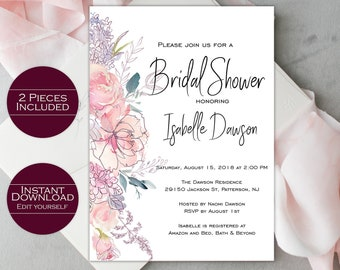 Bridal Shower Invitation Template /  Printable Bridal Shower Invitation / Shower Invitation / Editable Invitation / Isabelle Collection