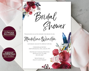 Bridal Shower Invitation Template / Printable Bridal Shower Invitation / Editable Template / Printable Invitation / Madeline Collection