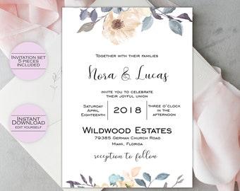 Wedding Invitation Template / Printable Wedding Invitation / Editable Invitation / Printable Invitation Template / Nora Collection