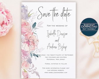 Floral Save the Date Template / Save the Date Printable / DIY Save the Date / Save the Date card / Editable Template  / Isabelle Collection
