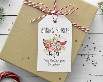 Baking Spirits Bright Gift Tag, Rustic Holiday Tag, Cookie Exchange Tag, Personalized  Christmas Gift Tag Template, MSD-247CGT