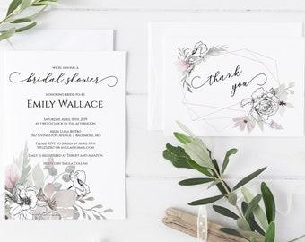 Floral Bridal Shower Invitation, Thank You Card, Editable PDF DIY Bridal Shower Invitation Template, MSD325