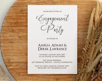 Minimalist Engagement Party Invitation, Printable Engagement Invitation Template, We're Engaged, MSD314