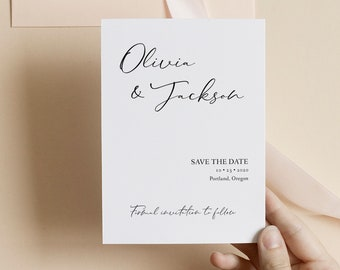 Save the Date Wedding Announcement, Minimalist Editable Template, Printable Invitation Template, Corjl Online Editor, MSD153