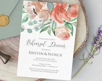 Rehearsal Dinner Invitation Template, Peach Floral Wedding Rehearsal Invitation, Instant Download Editable PDF Template, MSD697