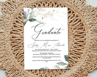 Printable Greenery and Gold Leaf Graduation Invitation Template, Editable Graduation Announcement Invitation, DIY Graduation, GRAD-389