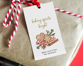 Baking Spirits Bright Christmas Gift Tag Template, Cookie Exchange Tag, Christmas Baking Tag, Personalized  Christmas Gift Tag, MSD-235CGT