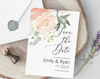 Peach Save the Date Editable Invitation Template, DIY Wedding Announcement, MSD301