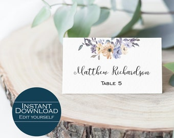 Printable Place Card, Wedding Place Card Template, Escort Card, Editable Place Card / Seating Card / Place Card Template / Nora Collection