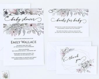 Floral Baby Shower Invitation Set, Editable Baby Shower Invitation Template, MSD325