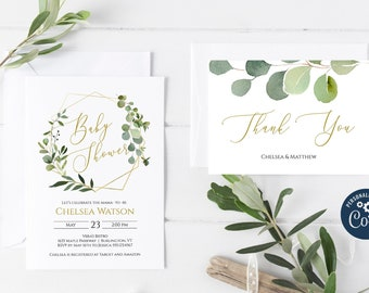 Greenery and Gold Baby Shower Invitation, Editable Invitation Template, Printable Invitation, Corjl Online Editor MSD358