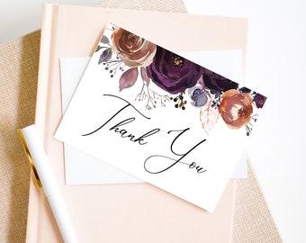 Violet Plum Printable Thank You Card, Wedding Thank You Card, Baby Shower Card, Bridal Shower Thank You Card, MSD501