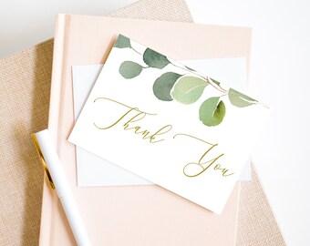 Greenery Printable Thank You Card, Wedding Note Card, Baby Shower Thank You Card, Bridal Shower Card, MSD358
