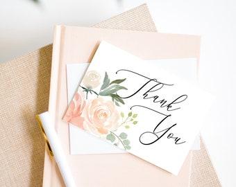 Peach Printable Thank You Card, Wedding Thank You Card, Baby Shower Card, Bridal Shower Thank You Card, MSD301-B