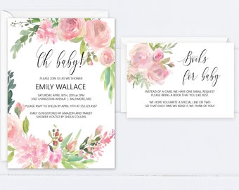 Pink Floral Baby Shower Invitation, Oh Baby Editable Invitation Template, Printable Invitation, MSD347