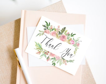 Pink Floral Printable Thank You Card, Baby Shower Note Card, Wedding Card, Bridal Shower Thank You Card, MSD347