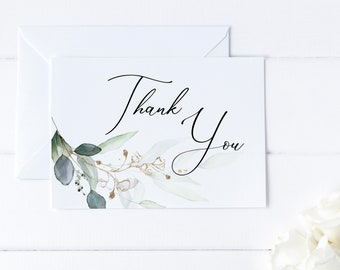 Greenery and Gold Leaf  Printable Thank You Card, Wedding Thank You Card, Baby Shower Card, Bridal Shower Thank You Card, MSD389