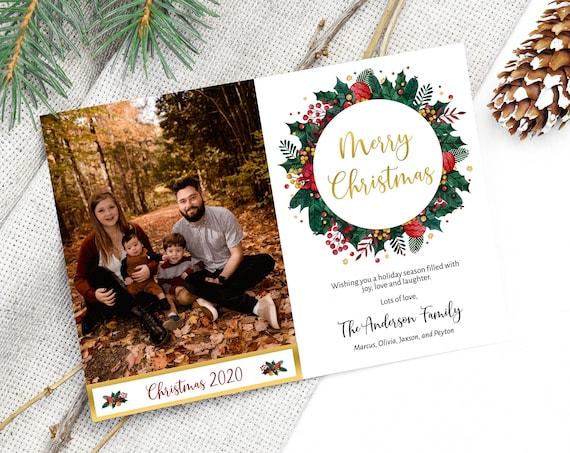 Printable Photo Christmas Card, Christmas Greeting Card, Holiday Card,  MSD-905CC