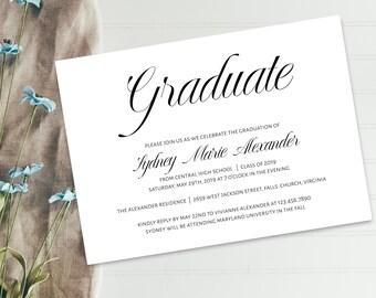 Printable Graduation Invitation Template, Graduation Announcement Invitation, Graduation Template, DIY Graduation Invitation, GRAD-072