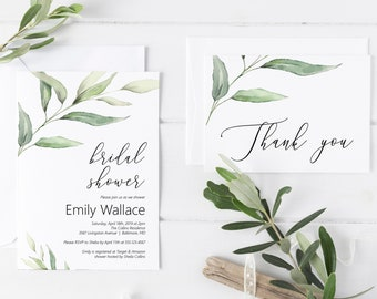 Greenery Bridal Shower Invitation, Thank You Card, Editable DIY Bridal Shower Invitation Printable Template, MSD375