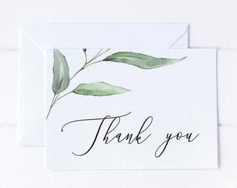 Greenery Printable Thank You Card, Wedding Thank You Card, Baby Shower Card, Bridal Shower Thank You Card, MSD375