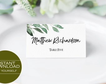 Greenery Printable Place Card Template, Editable Place Card, Seating Card, Place Card Template, Wedding Place Card, MSD215