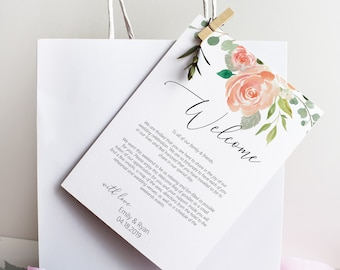 Printable Peach Floral Wedding Welcome Itinerary, Welcome Gift Bag Tag, MSD301