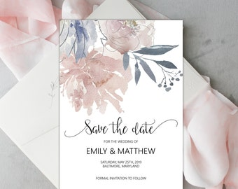 Floral Save the Date Editable Template, DIY Wedding Announcement, MSD336
