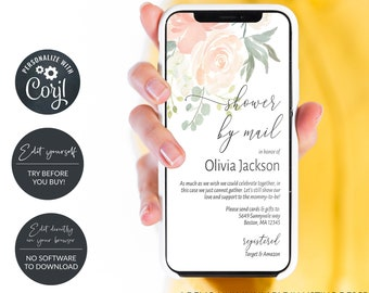 Peach Shower by Mail Electronic Invitaiton, Baby Shower, Bridal Shower, Virtual Shower, MSD301
