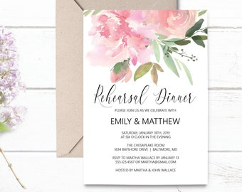 Rehearsal Dinner Invitation Template, Pink Floral Wedding Rehearsal Invitation, Editable PDF Template, Instant Download,MSD347