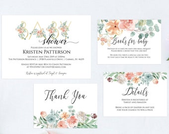 Floral Baby Shower Invitation, Editable Template, Gold and Peach Greenery Printable Invitation Template, MSD697
