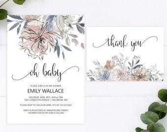 Floral Baby Shower Invitation, Editable Template, Oh Baby Printable Invitation Template, MSD336