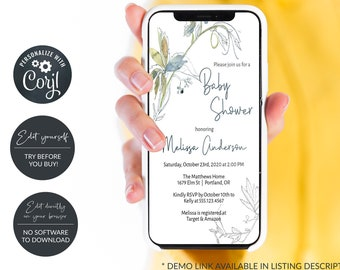 Rustic Electronic Baby Shower Invitation, Digital Baby Shower Announcement, Smartphone Invitation, Try before you buy with Corjl, MSD534