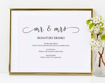 Signature Drinks Sign Template, Mr & Mrs Signature Cocktails Printable Sign, MSD-124