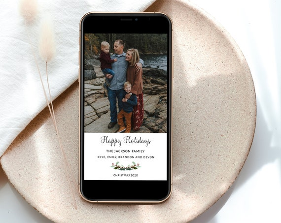 Christmas Electronic Photo Card, Christmas Greeting Card, Text Email Holiday Card,  MSD-903CC