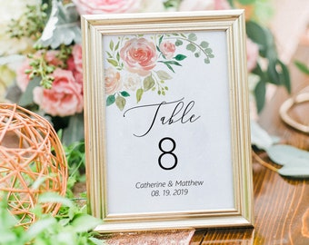 Printable Peach Floral Table Number Template, Wedding Table Numbers, Printable Table Cards, MSD301
