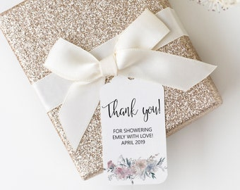 Thank You Favor Tags, Floral Baby Shower Printable Favor Tags Template, Editable Favor Tags, MSD336