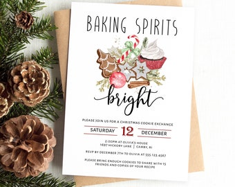 Christmas Cookie Exchange Invitation Template, Cookie Party Invitation, Christmas Baking Printable Invitation, MSD-960CPI