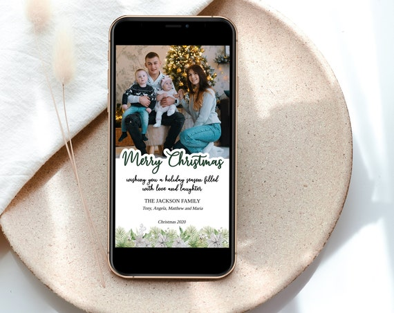 Electronic Christmas Greeting Card,  Holiday, Photo Card, Text Email Holiday Card,  MSD-907CC
