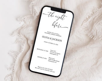 Digital Rehearsal Dinner Invitation, Electronic Dinner, Minimalist Wedding Rehearsal Evite, Text Message, Corjl Instant Download, MSD-1102