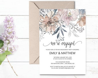 Floral Engagement Party Editable Invitation Template, We're Engaged Party Invitation, DIY Editable Template, MSD336