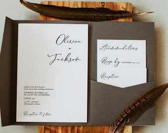 Modern Minimalist Calligraphy Pocket Wedding Invitation Set, Editable Template, Printable Invitation Template, Corjl Online Editor, MSD-153