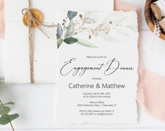 Greenery and Gold Leaf Engagement Dinner Invitation Editable Template, MSD389